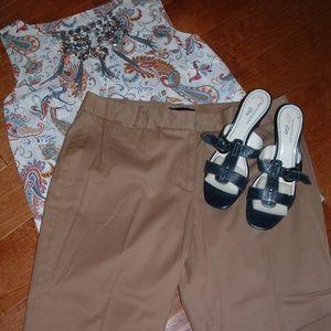 Talbots Size 14 Tan Cropped Pants NWT